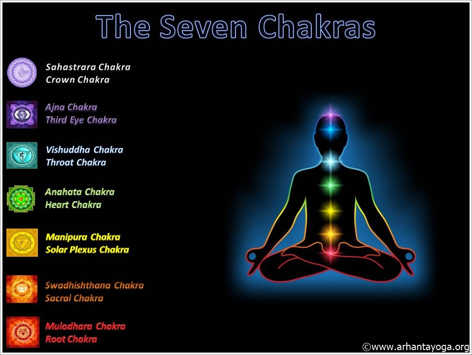 The 7 chakra's names Lotus leaves and colors