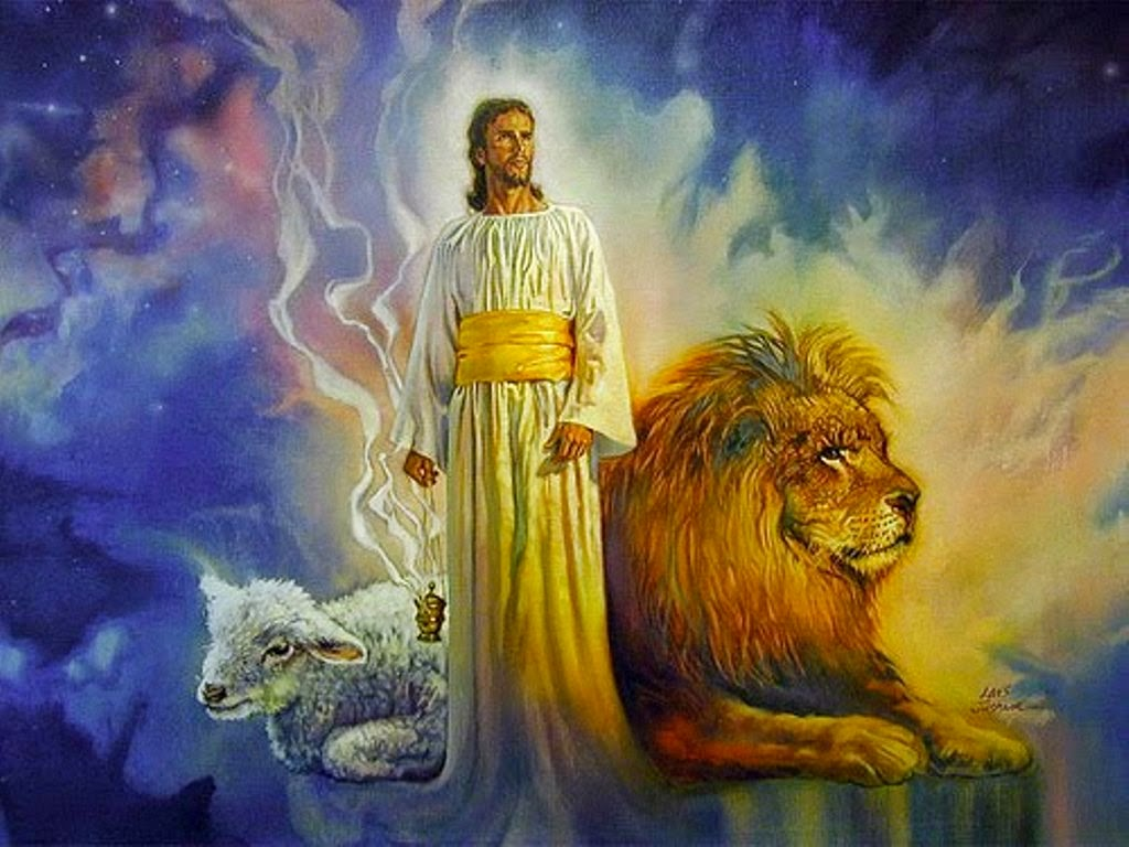 Jesus, the Lion and the Lamb painting